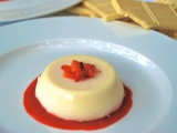 White Chocolate Panna Cotta with Strawberry Coulis